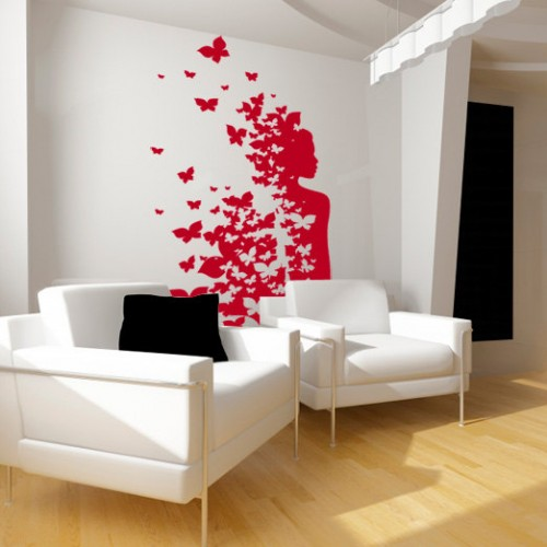 wall sticker girl with butterflies