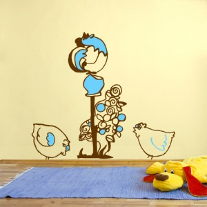cockerel and hens_kids wall sticker
